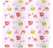Cute pink background with watercolor cupcakes.   Poster