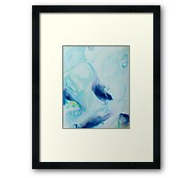 Watercolour abstract Swirl 3, blue,yellow,white Framed Print