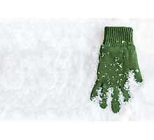 Glove Laying in Snow Photographic Print
