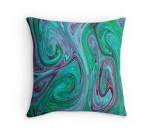 Watercolour abstract Swirl ,blue,green,jade,pink Throw Pillow