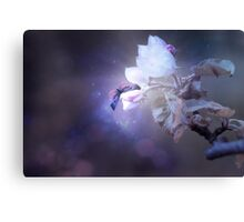 Spring blossom and pink, purple butterfly on a bokeh background with soft, neutral colors Canvas Print