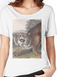 John James Audubon - Lynx rufus. Guldenstaed. Common American Wild Cat. 3-4   Male.1842 Women's Relaxed Fit T-Shirt