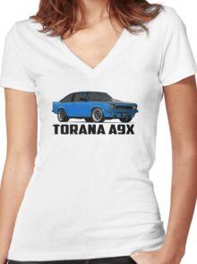 Holden Torana - A9X Hatchback - Blue Women's Fitted V-Neck T-Shirt