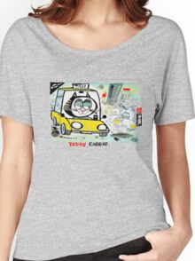 Cartoon of tabby cat driving New York taxi Women's Relaxed Fit T-Shirt