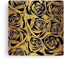 Elegant black rose on gold background.  Canvas Print