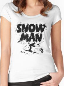 Snowman Ski Retro Women's Fitted Scoop T-Shirt