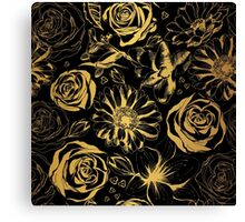 Elegant black background with gold flowers.  Canvas Print