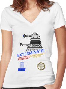 NINTENDO: NES EXTERMINATE! Women's Fitted V-Neck T-Shirt