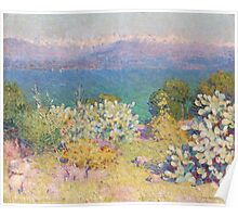 John RUSSELL - In the morning, Alpes Maritimes from Antibes . Landscape , Flowers Poster