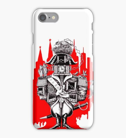 Imperial Clock surreal pen ink black white and red drawing iPhone Case/Skin