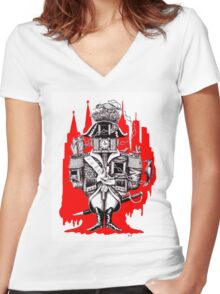 Imperial Clock surreal pen ink black white and red drawing Women's Fitted V-Neck T-Shirt