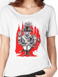 Imperial Clock surreal pen ink black white and red drawing Women's Relaxed Fit T-Shirt