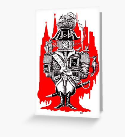Imperial Clock surreal pen ink black white and red drawing Greeting Card