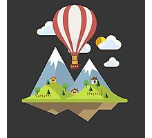 air trip mountain design balloon ballon montgolfière ballooning  Photographic Print