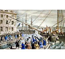 Destruction of tea at Boston Harbor - 1846 - Currier & Ives Photographic Print