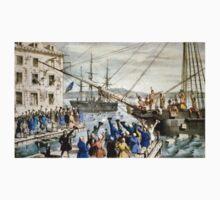 Destruction of tea at Boston Harbor - 1846 - Currier & Ives Kids Tee