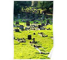 Graveyard With Old Weathered Gravestones Poster