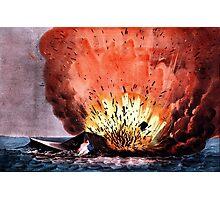 Destruction of the rebel monster Merrimac off Craney Island - 1862 - Currier & Ives Photographic Print