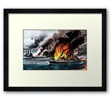 Destruction of the rebel ram Arkansas - 1862 - Currier & Ives Framed Print