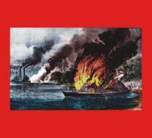 Destruction of the rebel ram Arkansas - 1862 - Currier & Ives One Piece - Short Sleeve