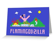 Flamingodzilla Pixel Greeting Card