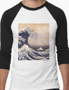Katsushika Hokusai - The Great Wave Off the Coast of Kanagawa 19th century . Japanese Seascape Men's Baseball ¾ T-Shirt