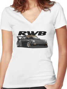 RWB (black) Women's Fitted V-Neck T-Shirt