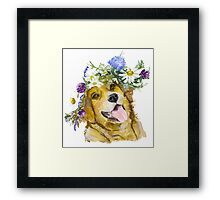 Dog with flowers. Framed Print