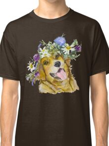 Dog with flowers. Classic T-Shirt