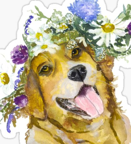 Dog with flowers. Sticker