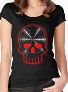 Vinyl Skull RED Women's Fitted Scoop T-Shirt