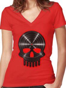 Vinyl Skull RED Women's Fitted V-Neck T-Shirt