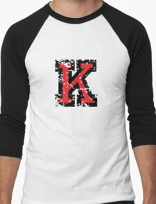 Letter K (Distressed) two-color black/red character Men's Baseball ¾ T-Shirt