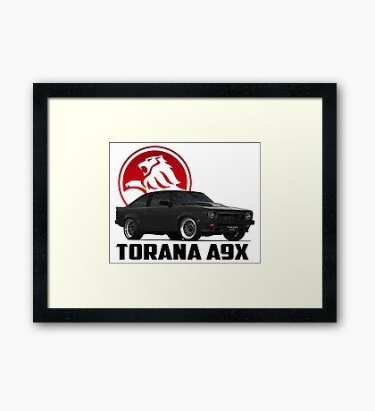 Holden Torana - A9X Hatchback - Black 2 Framed Print