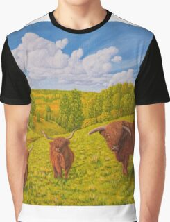 Highland Cattle Pasture Graphic T-Shirt