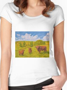 Highland Cattle Pasture Women's Fitted Scoop T-Shirt