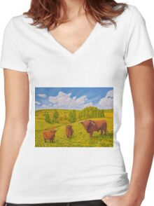 Highland Cattle Pasture Women's Fitted V-Neck T-Shirt