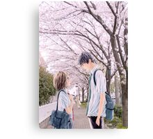 Love under the Sakura trees Canvas Print