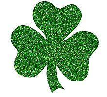 St. Patrick's Day Shamrock Green Glitter Photographic Print