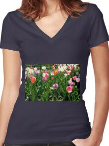 Tulips Glowing in the Sun Women's Fitted V-Neck T-Shirt