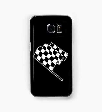 MOTOR SPORT, Racing Cars, Race, Checkered Flag, Flutter, WIN, WINNER, Chequered Flag, Finish line, BLACK Samsung Galaxy Case/Skin