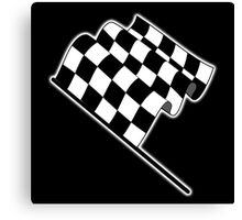 MOTOR SPORT, Racing Cars, Race, Checkered Flag, Flutter, WIN, WINNER, Chequered Flag, Finish line, BLACK Canvas Print