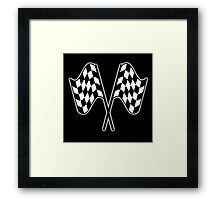 MOTOR SPORT, RACING, Racing Cars, Race, Checkered Flag, Le Mans,Flutter, WIN, WINNER, Chequered Flag, Double, Finish line, BLACK Framed Print