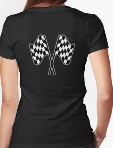 MOTOR SPORT, Racing Cars, Race, Checkered Flag, Le Mans,Flutter, WIN, WINNER, Chequered Flag, Double, Finish line, BLACK Womens Fitted T-Shirt