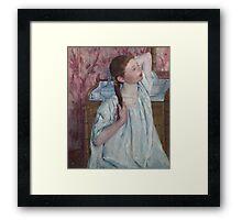 Mary Cassatt - Girl Arranging Her Hair 1886 American Impressionism  Framed Print