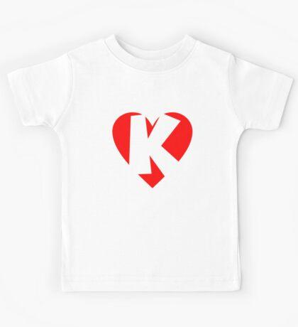 I love K - Heart K - Heart with letter K Kids Tee