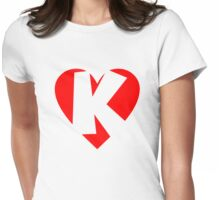 I love K - Heart K - Heart with letter K Womens Fitted T-Shirt