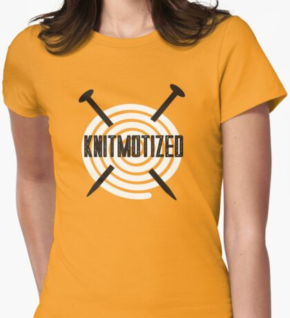 Knitmotized spiral ball of yarn knitting needles Womens Fitted T-Shirt