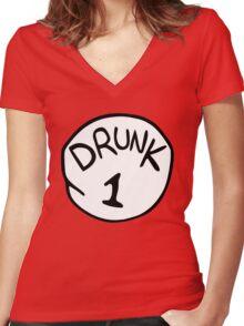 Drunk 1 Women's Fitted V-Neck T-Shirt