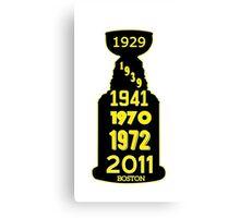 Boston Bruins Stanley Cup Winning Years Canvas Print